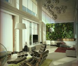 Фото проекта гостиной с вертикальным озеленением: проект Константина Русева