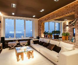 Кирпич в интерьере гостиной: дизайнер Тигран Бадалян