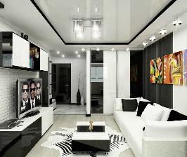 Черно-белая квартира для холостяка: дизайнер Ольга Фетисова