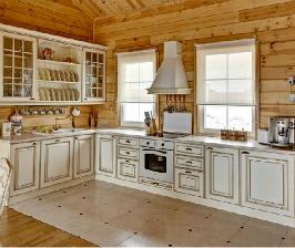 Интерьер кухни в бревенчатом доме: дизайнер Денис Карпиков