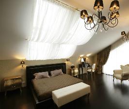 Спальня в мансарде: дизайнер Ольга Кулекина