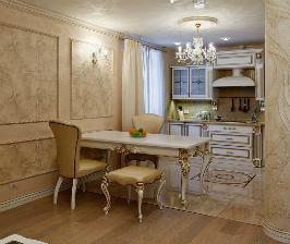 Интерьер гостиной с декоративной стеной: дизайнер Ольга Атнагулова