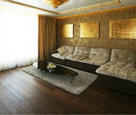 Интерьер кухни и гостиной в шоколадных тонах: дизайнер Марина Шистерова