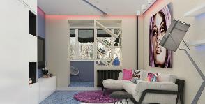 Уютная однокомнатная квартира, оформленная в духе поп-арт