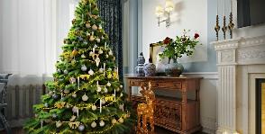 Уютная новогодняя гостиная с английским настроением