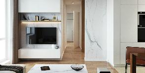 Простые формы и благородные материалы на 70м2: проект студии Точка дизайна