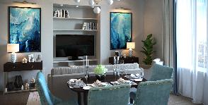 Цвета Бискайского залива: квартира Елены Зориной