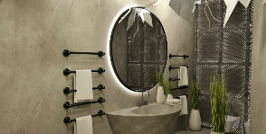 Ванная комната из бетона и цемента: дизайнер Юлия Сидорова