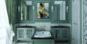 Интерьер в деталях: классическая ванная с купелью между умывальников