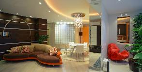 Яркий и динамичный интерьер современной квартиры-студии от архитектурного бюро Line 8