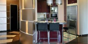 Интерьер гостиной-кухни-столовой: дизайнер Ирина Никитина