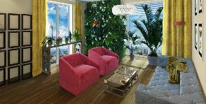 Интерьер-сад с цветущей стеной и попугаями: дизайнер Светлана Ильина