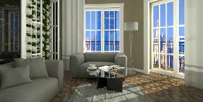 Интерьер в спокойном колорите с вертикальным озеленением: дизайнер Елена Шафранская
