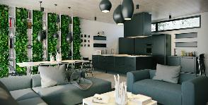 Гостиная, объединенная со столовой и кухней: проект Павла Ветрова