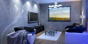 Квартира-студия с подсветкой синим: дизайнер Анастасия Литвинова