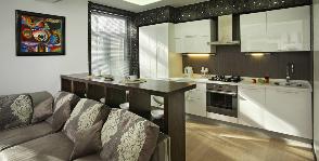 Элегантная кухня в квартире-студии: дизайнер Елена Забелина