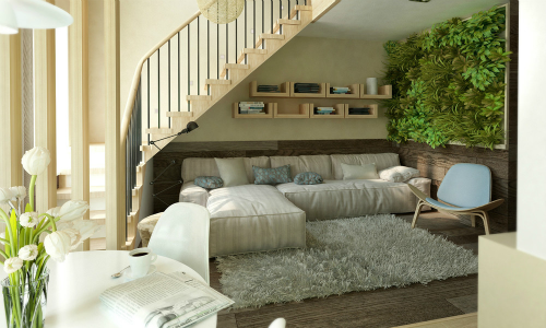 Большая комната-спальня дизайн