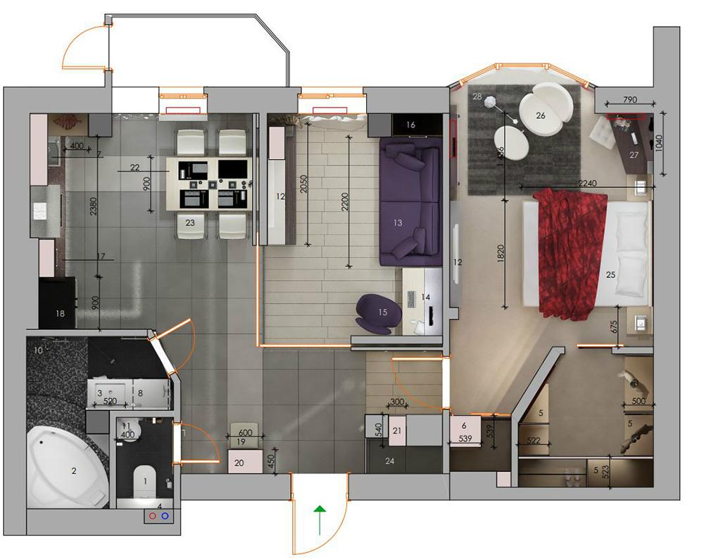 Дизайн 3 квартиры студии
