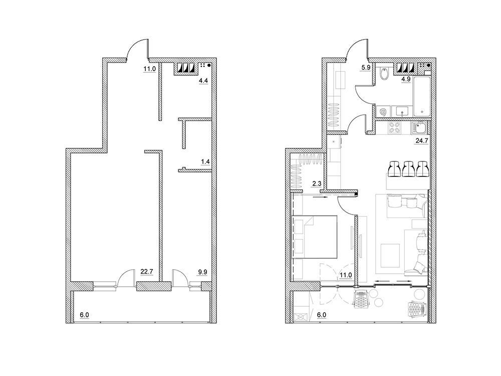Перепланировка двухкомнатной хрущёвки Фото 2 комнатной