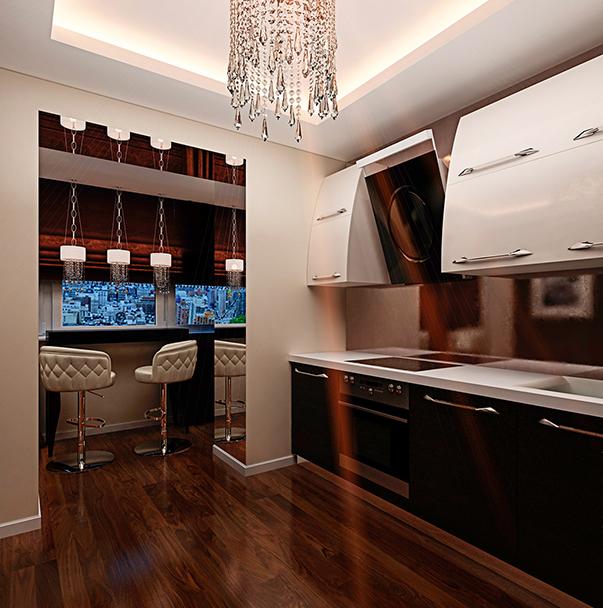 Дизайн кухни с диваном и балконом