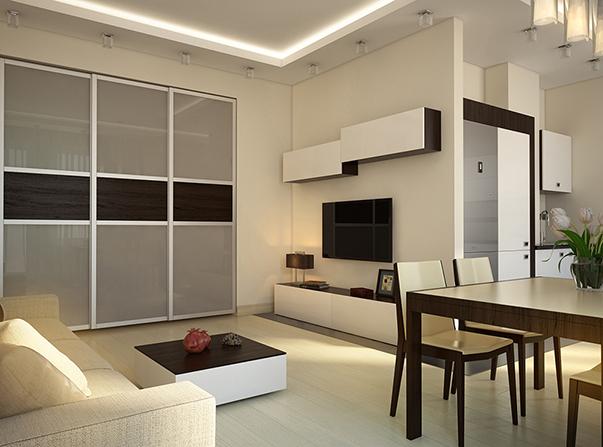 Дизайн однокомнатной квартиры 45, 46, 47 кв м
