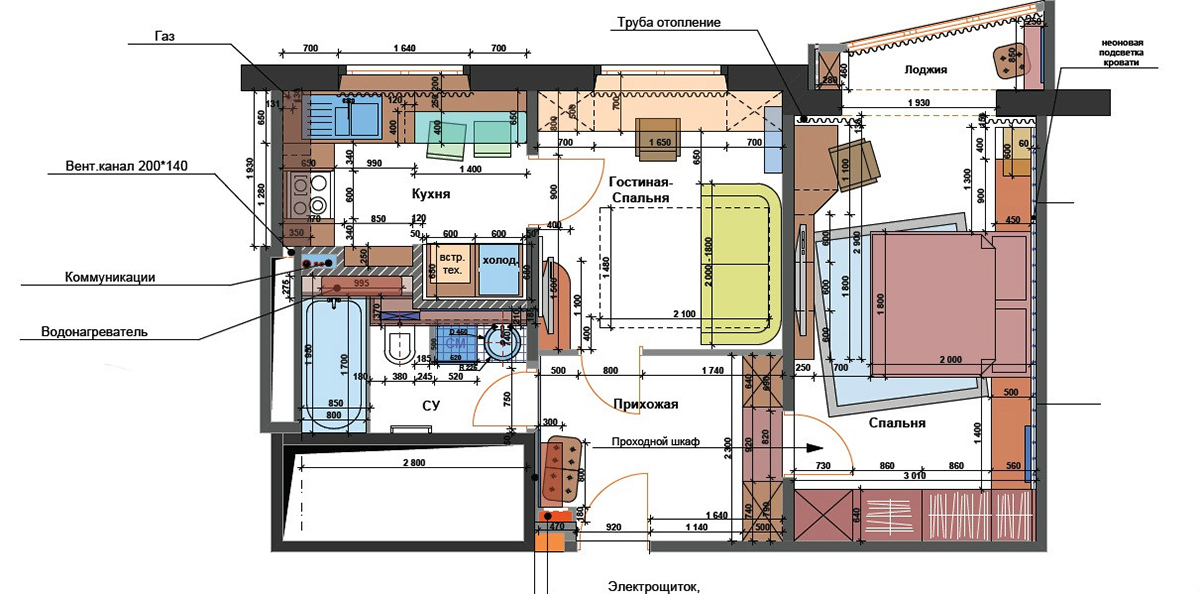 Дизайн однокомнатной квартиры в Киеве - разработка