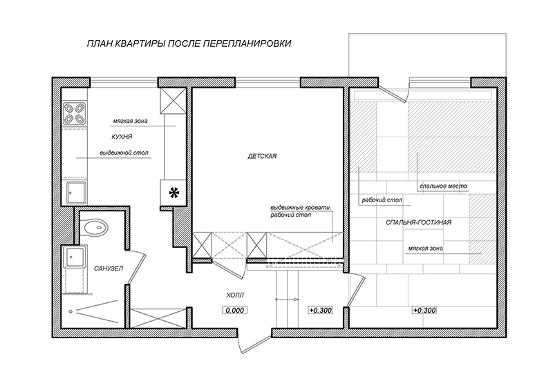 Перепланировка №3 трехкомнатной квартиры П-44T/17, план
