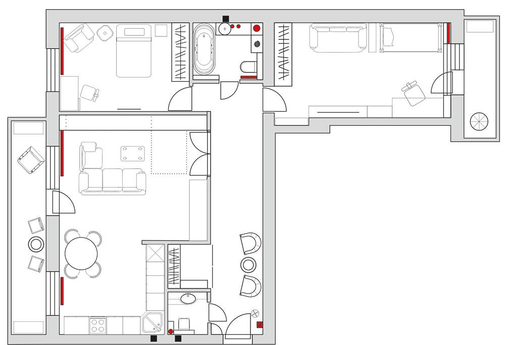 План 3-комнатной квартиры в