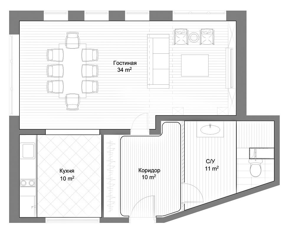Схема однокомнатной квартиры.