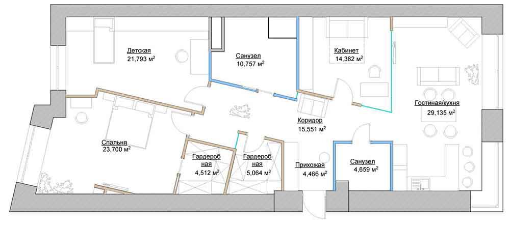 Дизайн интерьера в однокомнатной квартире: фото и дизайн