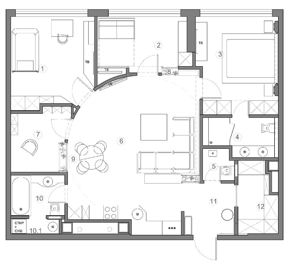 вариант эскизного проекта дизайна интерьеров квартиры