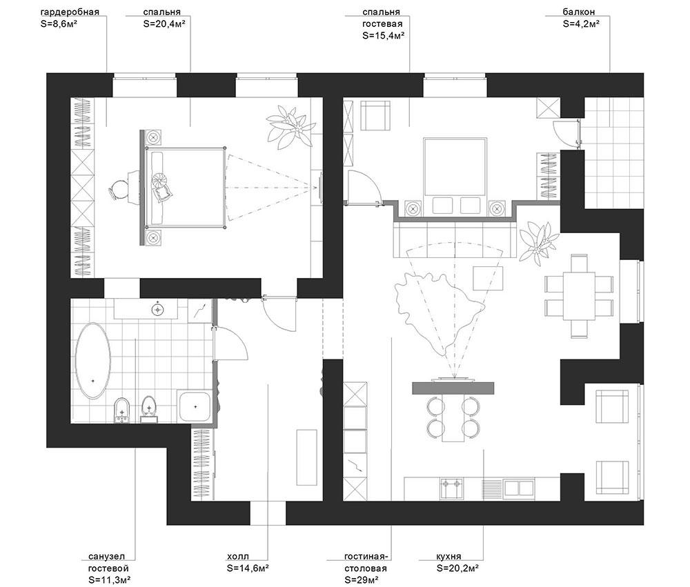 План схема 3 комнатной квартиры 498