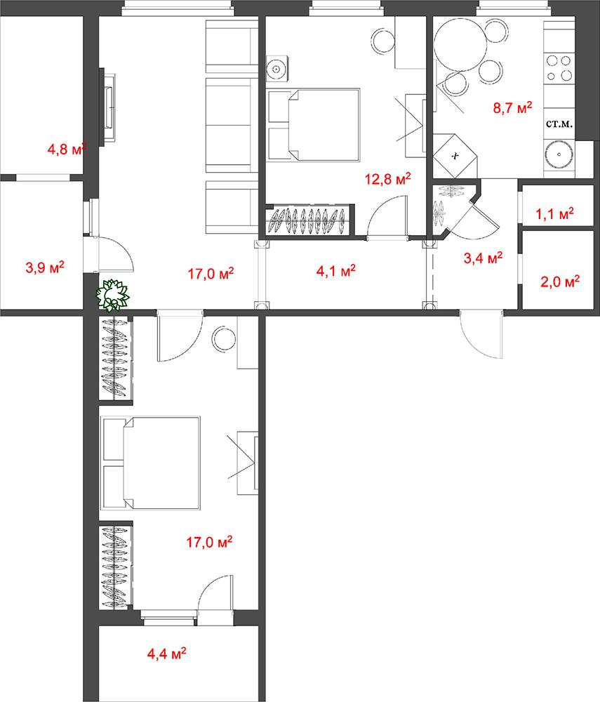 Ремонт в маленькой квартире (35 кв м) в Москве на