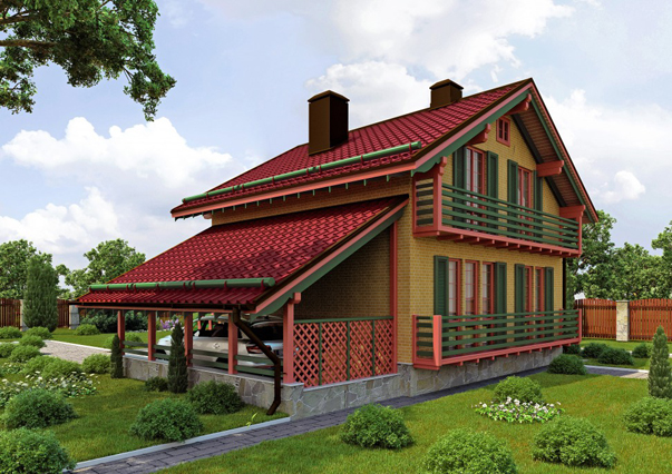 Каркасный дом по проекту ШАЛЕ с кирпичом Лаймбрик