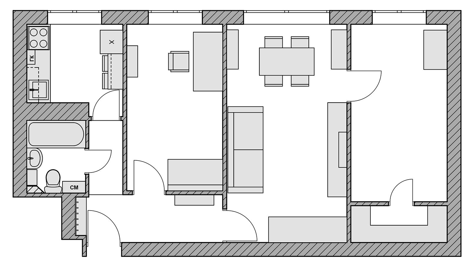Перепланировка 2-х комнатной хрущёвки – 15 вариантов
