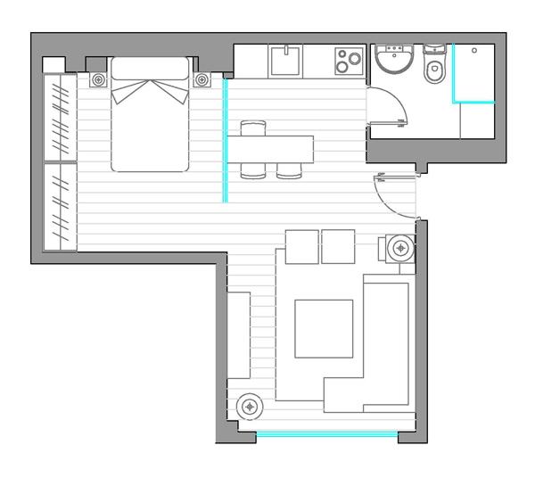 Дизайн-проект интерьера двухкомнатной квартиры рабочие