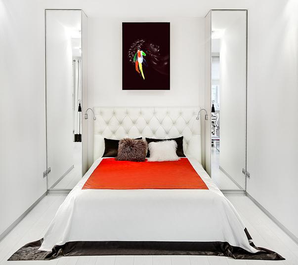 Дизайн комнаты спальни и кухни с зонами 114