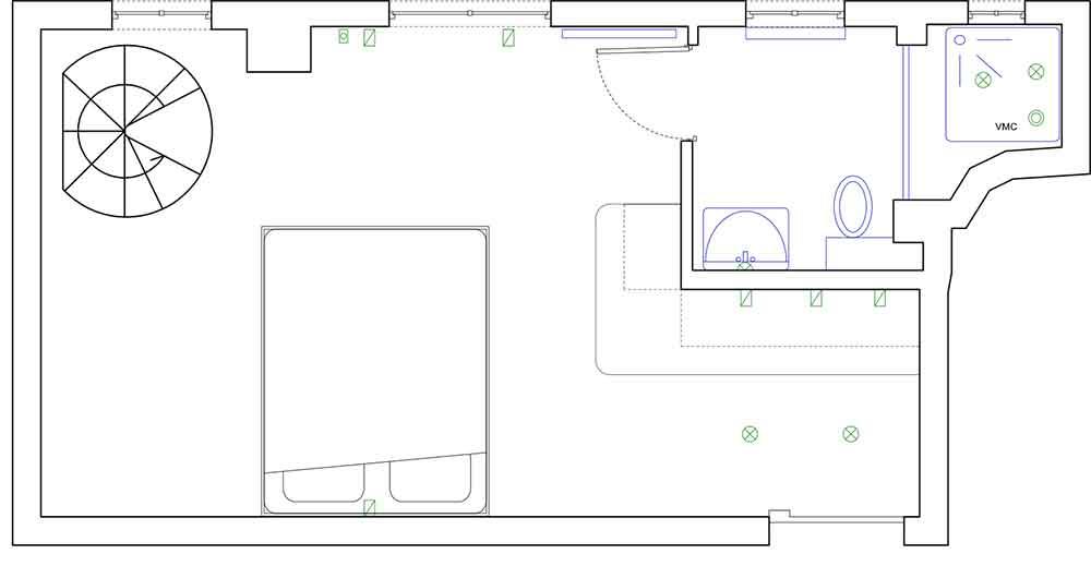Дизайн маленькой многофункциональной комнаты площадью 23 кв м в Париже
