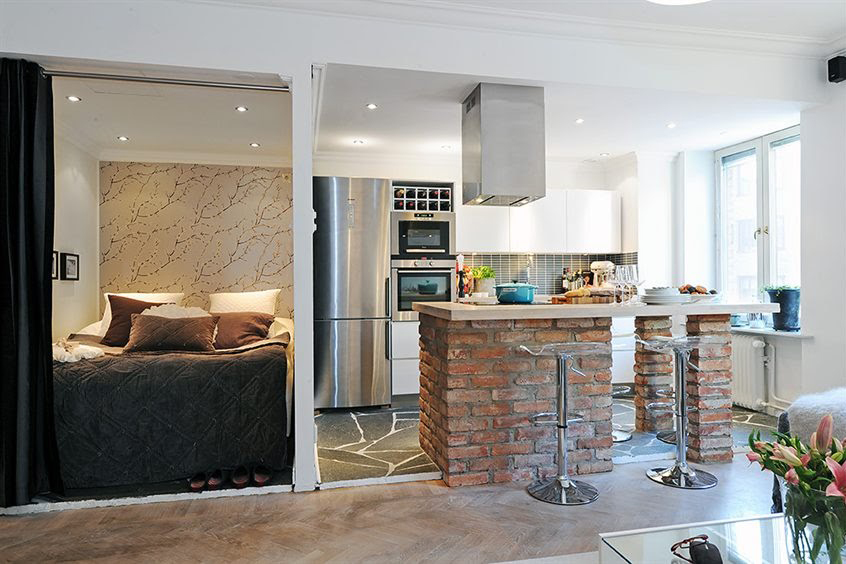 Комната студия с кухней фото дизайн 30 кв м