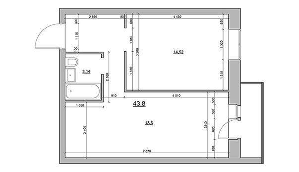 План однокомнатной квартиры в